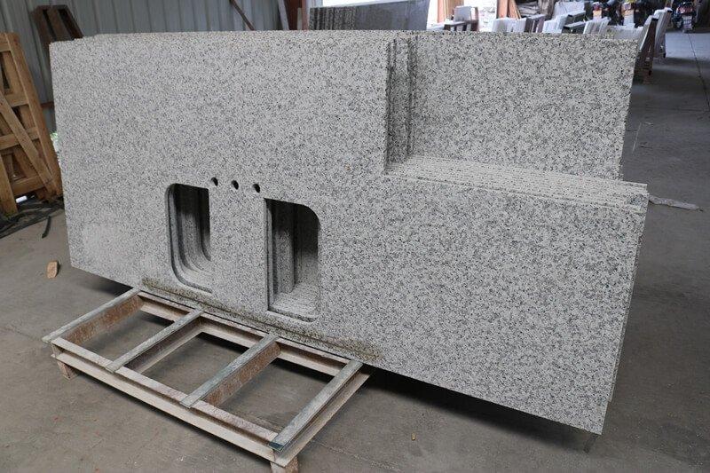 granite countertops gray and white