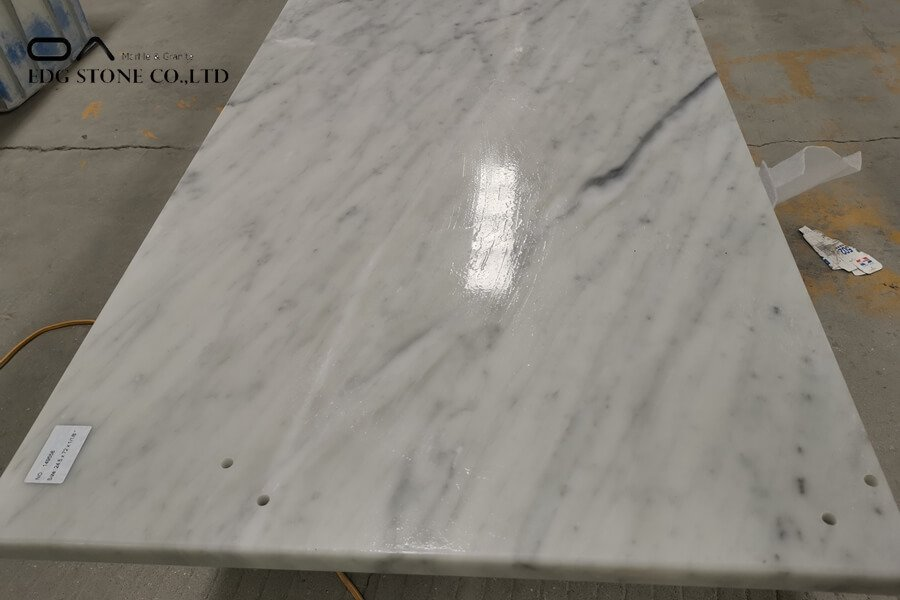 white and gray marble countertops