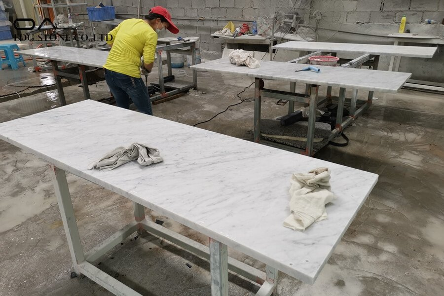 white marble bathroom countertops