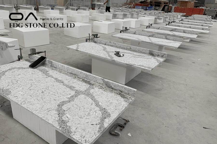 Calacatta white quartz stone vanity tops