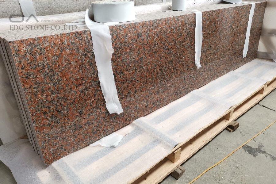 red granite worktop